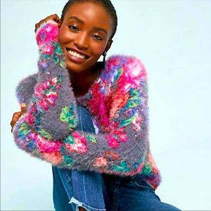 Anthro Meadow Rue Posy Ariel Eyelash Sweater Sz XS
